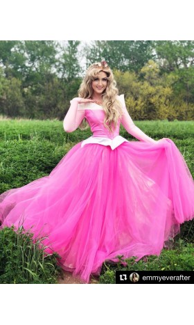 P945 COSPLAY iridescent PINK Dress Princess sleeping beauty Costume Aurora women