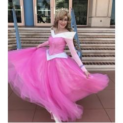 P945 COSPLAY iridescent PINK Dress Princess sleeping beauty Costume Aurora women