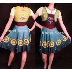 J525 Anna costume frozen fever women cosplay one piece ice skating dress casual