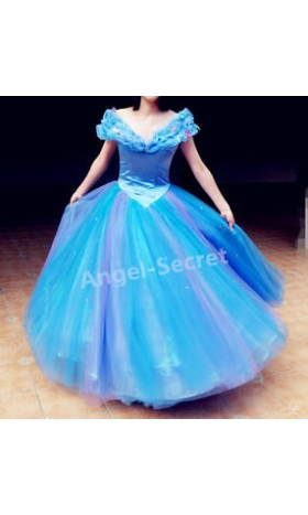 P243 Movies Cosplay Costume Cinderella 2015 Ella blue dress princess iridescent