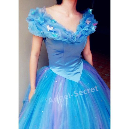 P243 Movies Cosplay Costume Cinderella 2015 Ella blue dress princess iridescent