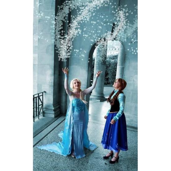 J711 Movies Frozen Snow Queen ELSA Cosplay Costume Dress CUSTOM tailor HANDMADE
