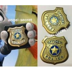 ZO3 Zootopia Judy Rabbit Badge Police Badge Brooch cosplay gold plastic