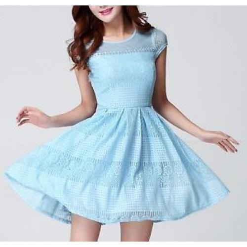 LS9 women short dress XXXL BIG blue  inspired disneybound Elsa Frozen