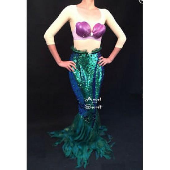 P141 high Waist Green sequins Mermaid Skirt Fish Ariel tail Costume sea plant