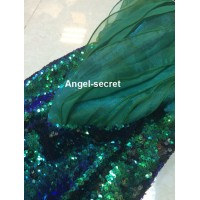P141 high Waist Green sequins Mermaid Skirt Fish Ariel tail Costume sea plant