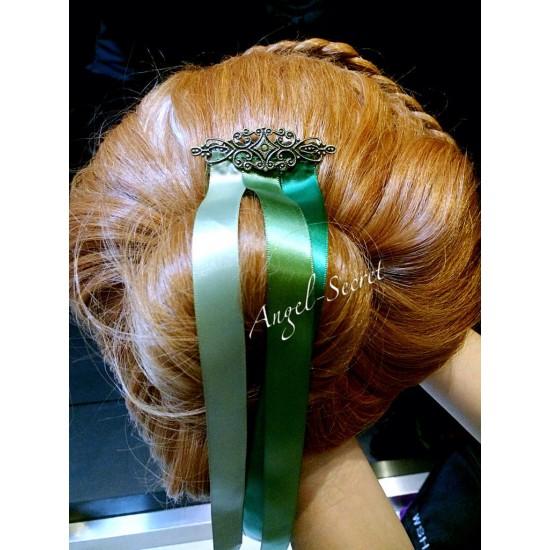 CM10 FROZEN Princess ANNA CORONATION Cosplay HAIR WIG Resin CROWN Ribbons COMB