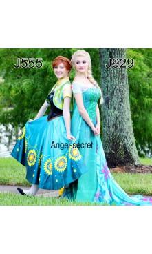 J929 spring FROZEN FEVER ELSA green dress whole set 2.6 meter cape adult women