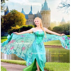 J929 spring FROZEN FEVER ELSA green dress whole set 2.6 meter cape adult women