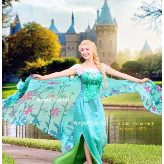 J929NC new FROZEN FEVER ELSA green dress  without cape