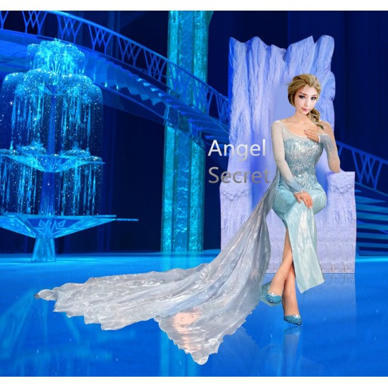 j999S4 Elsa costume with CL28 park version IN 4 separate part bodice skirt top and cape