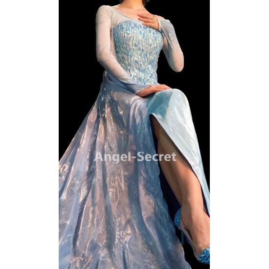 j999 Elsa performer costume with CL28 park version cape women adult frozen1 dress