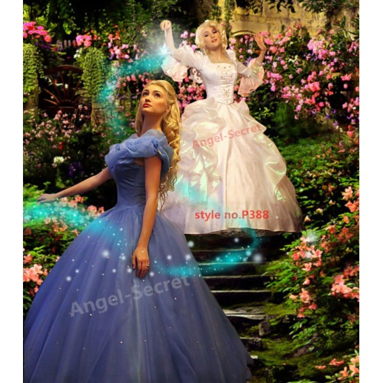 P388 NEW fairy godmother Cinderella 2015 movie white metallic gown dress without wings