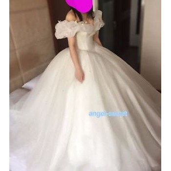 P303 Movie Costume Cinderella 2015 Ella white dress wedding bridal long train