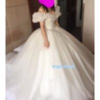 P303 Movie Costume Cinderella 2015 Ella white dress wedding bridal long train