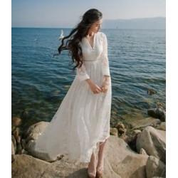 LS1 women dress white lace long circle skirt full length gown bride lolita