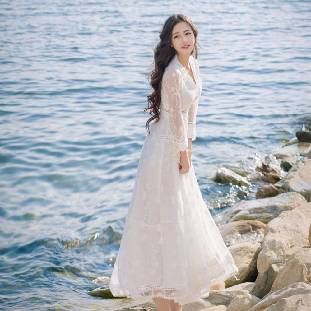 LS1 women dress white lace long circle skirt full length ...