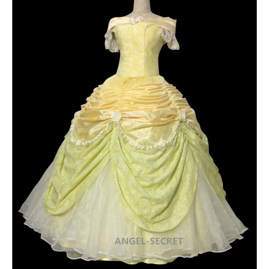 P102 COSPLAY beauty and beast princess belle Costume tailor made puffy version