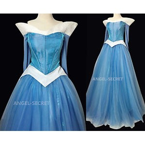 P940 COSPLAY  blue Dress Princess sleeping beauty Costume Aurora women
