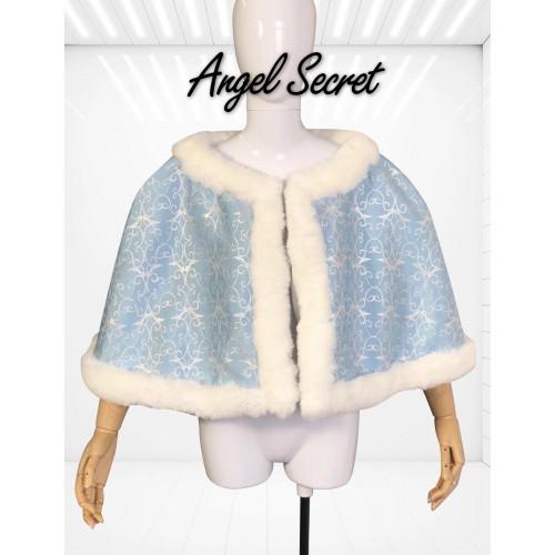 C259 COSPLAY Princess Cinderella furry blue park version cape winter blue silver