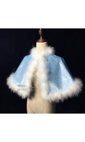 C259 COSPLAY Princess Cinderella furry blue park version cape winter blue silver