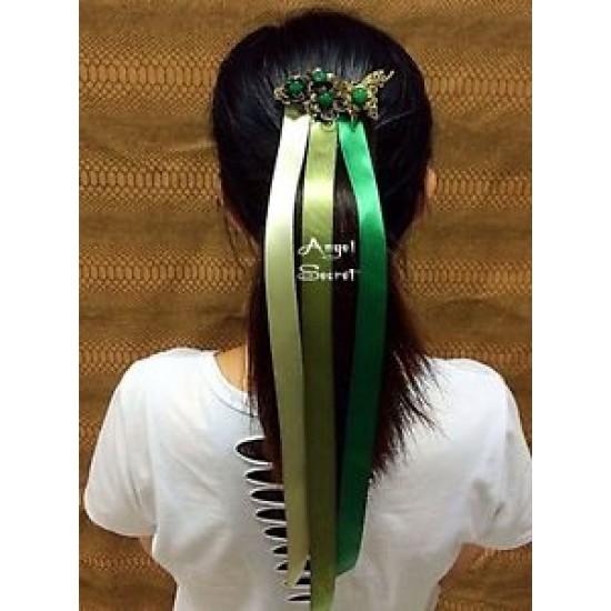CM11  Princess ANNA CORONATION Cosplay HAIR WIG METAL CROWN Ribbons COMB