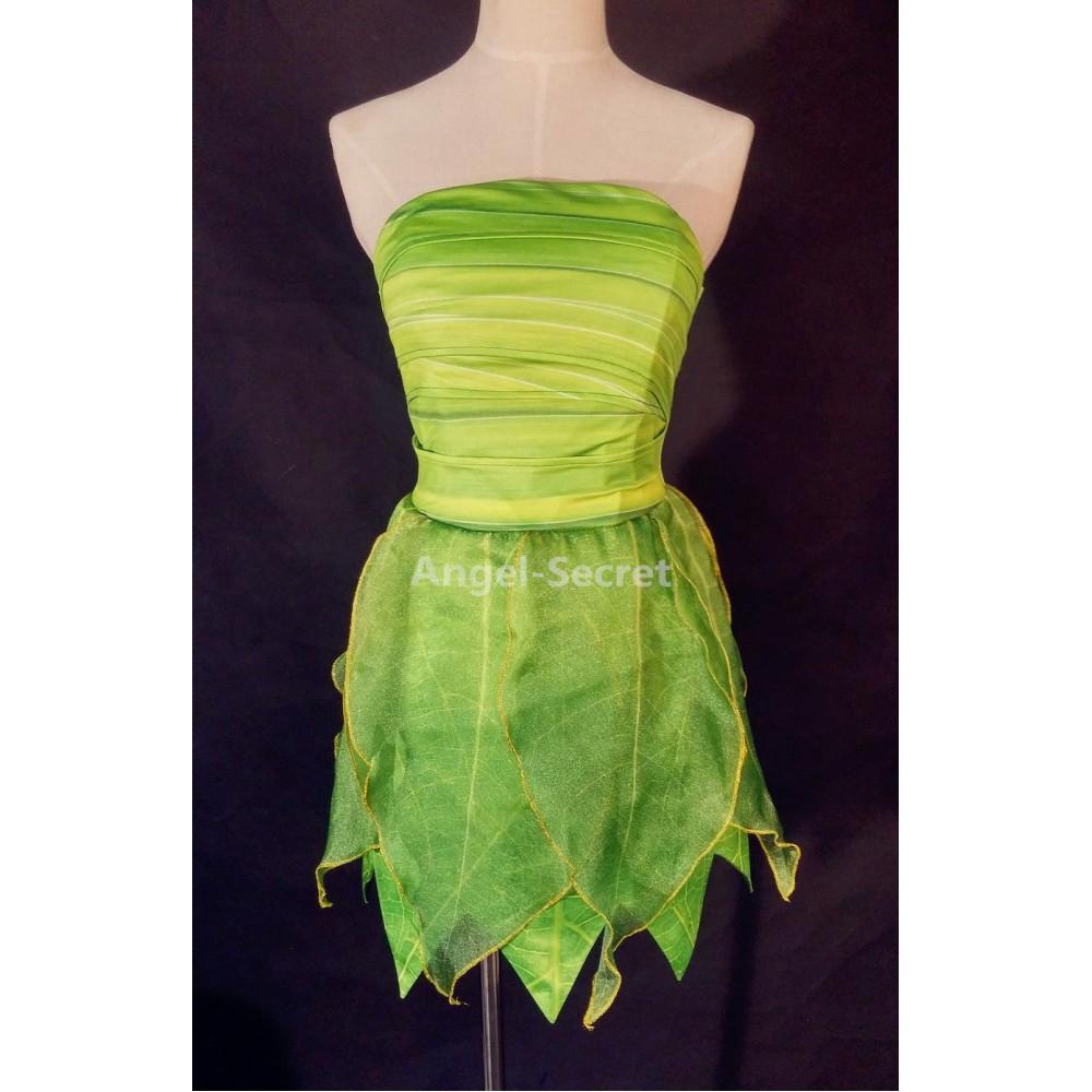 P356 Tinkerbell costume women cosplay leafy print dress