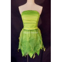 P356 Tinkerbell costume women cosplay leafy print dress