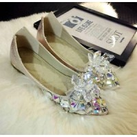 SH788 crystal shoes Cinderella cosplay costume flat shoes BRIDE BRIDAL SLIPPER