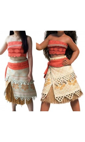 P300 moana costume movie cosplay princess party skirt belt custom made