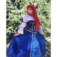 S179 Ariel doll version costume shirt+corset+skirt+Hair bow
