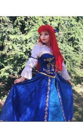 S179 Ariel doll version costume shirt+corset+skirt+Hair bow