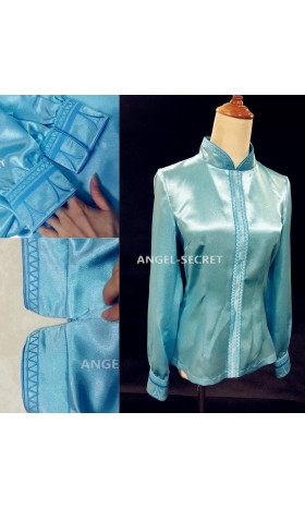 TOP25 princess ANNA Cosplay Costume embroidery shirt only tailor made kid adult