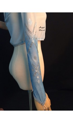 TOP5 mesh top with rhinestone two tone sleeves for Elsa shirt cosplay
