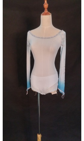 TOP51  full length mesh top with rhinestone two tone sleeves for Elsa shirt cosplay
