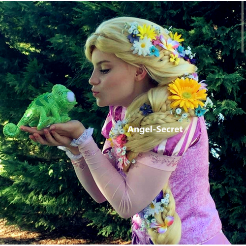 wg41 Tangled Rapunzel Cosplay Adult Costume women wig extra long extra thick