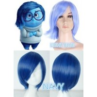wg56 wig for inside out cosplay Sadness blue short hair women adult